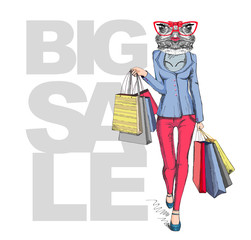 Retro Hipster animal girl frog. Big sale hipster poster with woman model