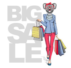 Retro Hipster animal girl koala. Big sale hipster poster with woman model