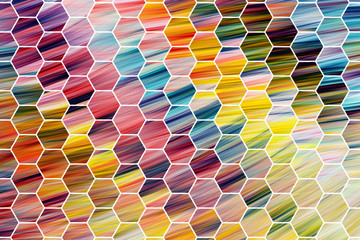 Abstract red, green, yellow and blue hexagonal texture. Fractal background. Fantasy digital art. 3D rendering.
