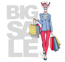 Retro Hipster animal girl giraffe. Big sale hipster poster with woman model