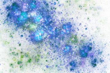 Abstract green and blue drops. Digital fractal art. 3D rendering.