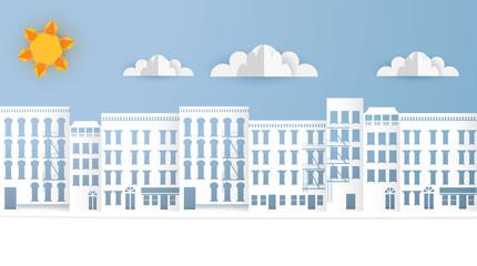Vector Paper Art Landscape, Urban Scene. Origami Paper Buildings.