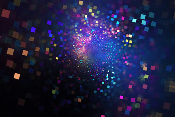 Abstract glittering texture with pink, blue and orange squares. Fantasy fractal design. Digital art. 3D rendering.