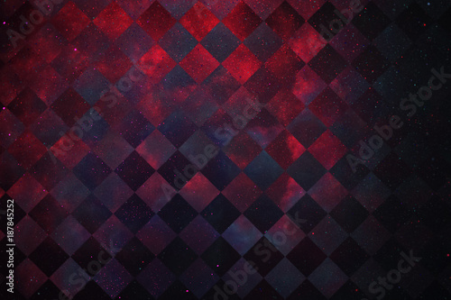 Abstract Glittering Geometric Texture With Red And Dark Blue