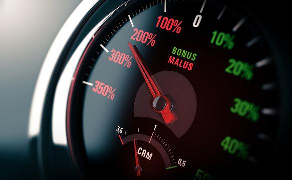 Malus Assurance Automobile. Concept Automobiliste Malussé. Coefficient de réduction-majoration.