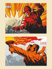 Propaganda and war poster set in colorful vector illustration painting