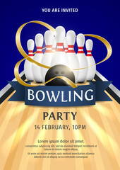 Bowling Party Flyer Template Illustration. Bright Bowling tournament poster with ribbon. 3d ball and skittles composition. Bowling backgrounds for banner, poster, flyer, label design.