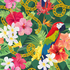 Beautiful seamless pattern with hibiscus syriacus flowers and macaw on graphic green background. Vector set of blooming tropical floral for wedding invitations, greeting card and fashion design.
