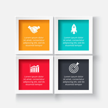 Vector square for infographic. Template for cycle diagram, graph, presentation and chart. Business concept with 4 options, parts, steps or processes. Abstract background.