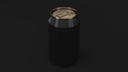Blank small black and gold aluminium soda can mockup on black background
