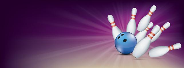 Purple Bowling Pin Deck Banner Blue Ball Strike Pins