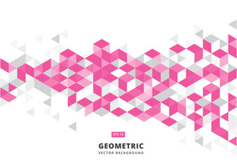 abstract pink geometric background with polygonal triangles, cube pattern.Template design with color triangle for brochure, leaflet, flyer design.