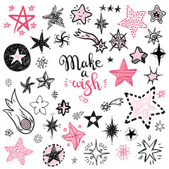Funny doodle stars and comets icons collection. Hand kids drawn