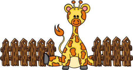 Cute giraffe with wooden fence