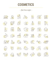 Vector graphic set. Isolated Icons in flat, contour, thin, minimal and linear design. Cosmetics for face and body. Makeup Accessories. Concept illustration for Web site. Sign, symbol, element.