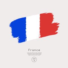 Flag of France in Grunge Brush Stroke : Vector Illustration