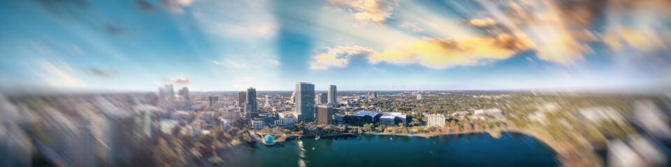 Amazing panoramic aerial view of Orlando skyline at dusk, Florida