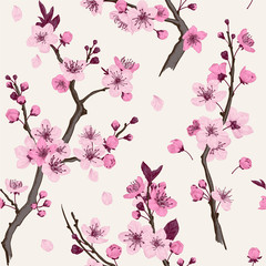 Wall Mural - Sakura. Seamless pattern. Pink Cherry blossom branches. Vector botanical illustration.