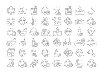 Vector graphic set. Icons in flat, contour, thin and linear design. Cosmetology. Skin care. Simple isolated icons. Concept illustration for Web site. Sign, symbol, element.