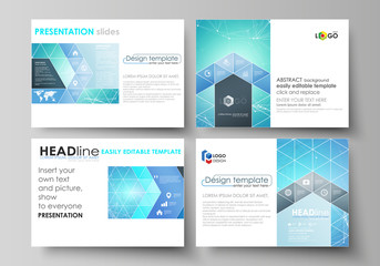 Set of business templates for presentation slides. Abstract vector layouts in flat design. Chemistry pattern, connecting lines and dots, molecule structure, medical DNA research. Medicine concept.