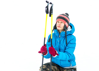 young caucaisan woman with ski equipment outside