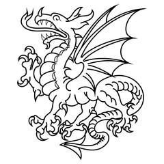 Winged heraldic dragon