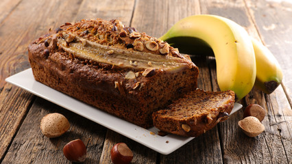 banana bread on wood background