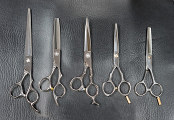 Set of scissors for cutting hair for professional hair stylist.