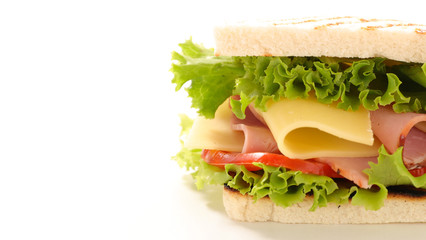 Foto auf AluDibond Fastfood sandwich with cheese and ham