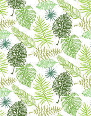 Hand drawn doodle palm tree leaves pattern.