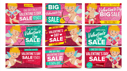 Valentine s Day Sale Banner Set Vector. Happy Amour. Holidays Sale Announcement. Design For February 14 Banner, Brochure, Poster, Discount Offer. Best Clearance. Advertising Design Illustration.
