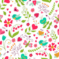 Floral pattern in doodle and cartoon style. Color.