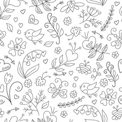 Floral pattern in doodle and cartoon style.