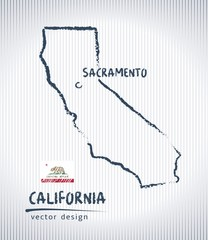 California vector chalk drawing map isolated on a white background