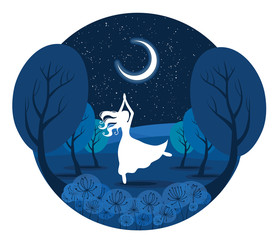 Night dancer, girl dancing in the moonlight vector illustration