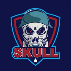 Skull in military helmet and gas mask logo