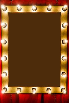 Photo frame with bulbs around perimeter