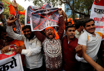 Members of the Rajput community protest against the release of the upcoming Bollywood movie 'Padmavat' in Mumbai, India