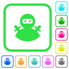 Ninja avatar vivid colored flat icons