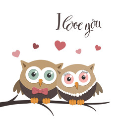 Couple of owls in love on a white background and  message