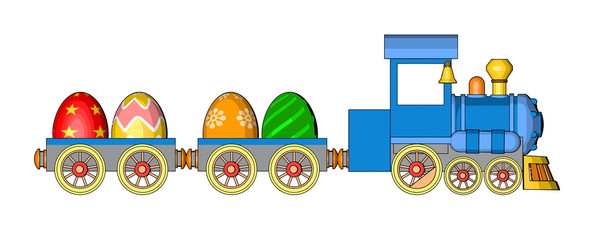 easter card toy locomotive toys railway car cartoon style blue wheel orange freight cars cargo eggs easter eggs isolated white