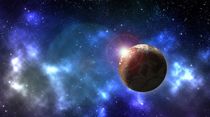Planet in outer space background with nebula  full of stars