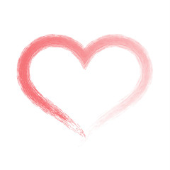 Brush drawing calligraphy heart, isolated on white