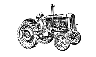 Vintage Retro Tractor Farming Machinery Illustration
