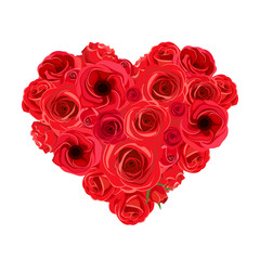 Vector heart bouquet of red roses and lisianthus flowers isolated on a white background.