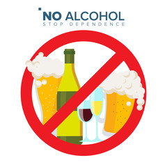 No Alcohol Sign Vector. Strike through Red Circle. Alcohol Abuse Concept. Prohibition Icon. Isolated Flat Cartoon Illustration