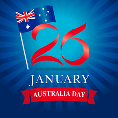 26 January Happy Australia day greeting card blue. Vector illustration for 26th january Australia day lettering banner with national flag and text on blue stripes background