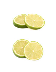 Couple slices of lime isolated