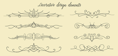 Vector hand drawn flourishes, dividers, graphic lovely design element set. Cute vintage borders. Wedding invitation cards, page decoration