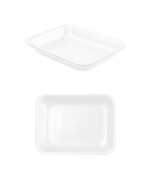 Plastic foam food tray isolated